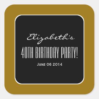 Gold and Black Elegant 40th Birthday Party V01 Square Sticker