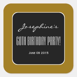 Gold and Black Elegant 60th Birthday Party V02B Square Sticker