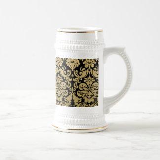 Gold and Black Elegant Damask Pattern Beer Steins