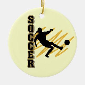 Gold and Black Female Soccer Player Ceramic Ornament