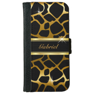 Gold and Black Giraffe Animal Print iPhone 6 Wallet Case