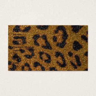 Gold and Black Girly Glitter Cheetah Print Business Card