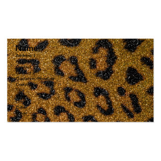 Gold and Black Girly Glitter Cheetah Print Pack Of Standard Business Cards