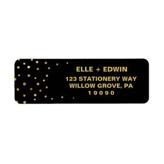 Gold and Black   Glam Confetti Wedding Return Address Label