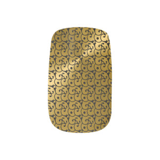Gold  and Black Glamor Pattern Minx Nails Minx Nail Art