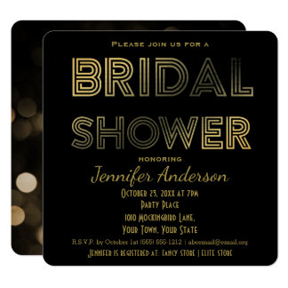 Gold and Black Glamour Hollywood Bridal Shower Card