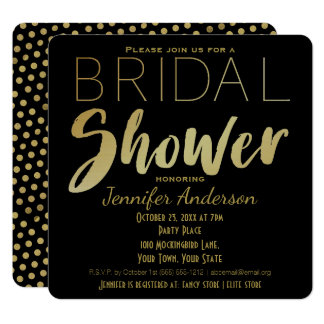 Gold and Black Glamour Theme Bridal Shower Card