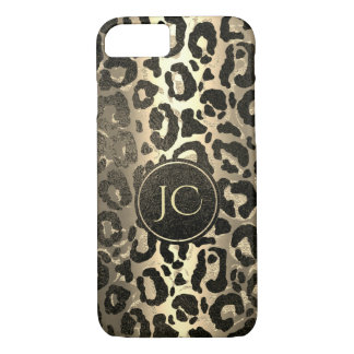 Gold and Black glitter  Leopard/ Jaguar print iPhone 8/7 Case
