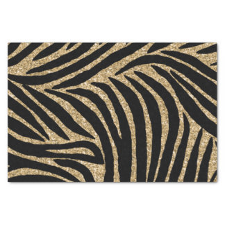 Gold and Black Glitter Zebra Print Tissue Paper