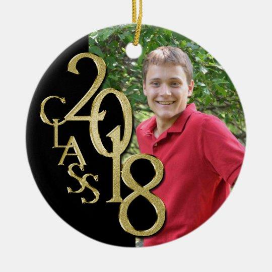 Gold and Black Graduation Class of 2018 Photo Ceramic Ornament