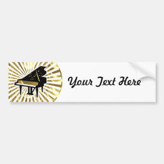 Gold and Black Grand Piano Music Notes Bumper Stickers