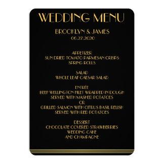 Gold And Black Great Gatsby Wedding Menu 13 Cm X 18 Cm Invitation Card