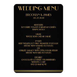 Gold And Black Great Gatsby Wedding Menu Announcement