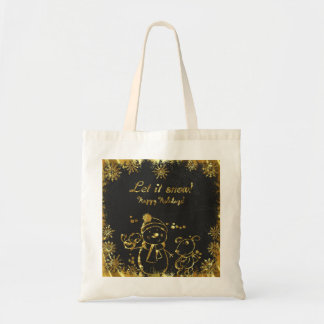 Gold And Black Illustration- Merry Christmas Tote Bag