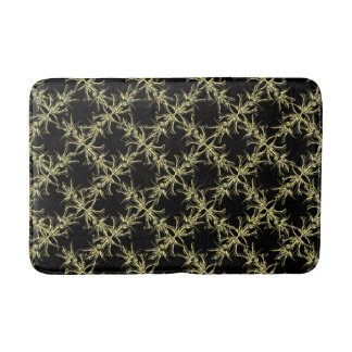 Gold and Black Latticework Floral Pattern Bath Mat