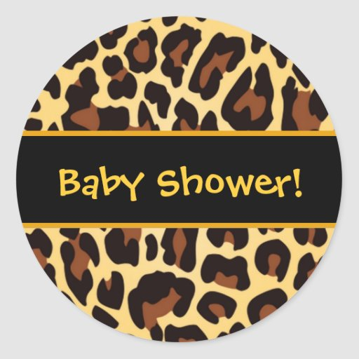 Gold and Black Leopard Baby Shower Favor Round Stickers