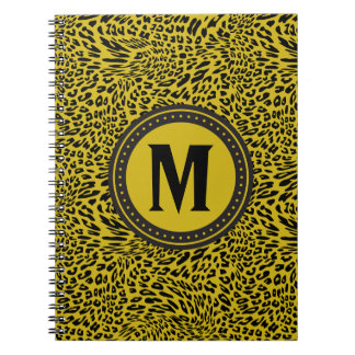 Gold and Black Leopard-Print Monogrammed Notebook