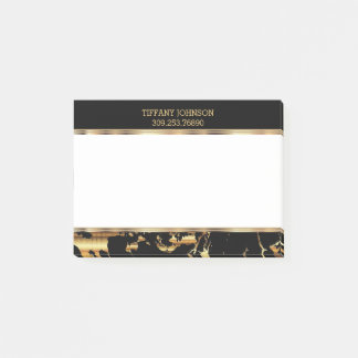 Gold and Black Marble Post-it Notes