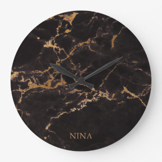 Gold And Black Marble Stone Wall Clock