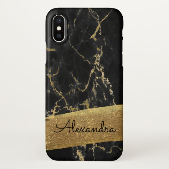 Gold and Black Marble with Gold Foil and Glitter iPhone X Case