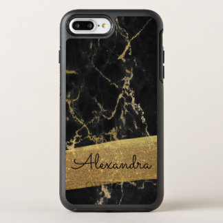 Gold and Black Marble with Gold Foil and Glitter OtterBox Symmetry iPhone 8 Plus/7 Plus Case
