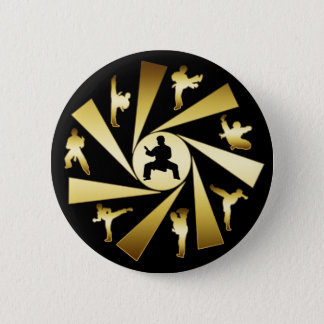 GOLD AND BLACK MARTIAL ARTS 6 CM ROUND BADGE