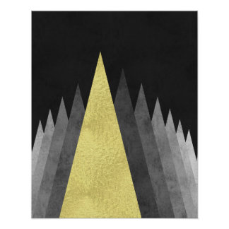 Gold and black Modern minimal geometric art Poster