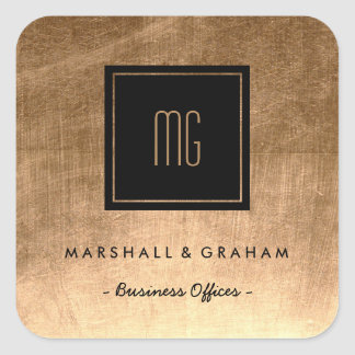 Gold and Black Monogram Business Stickers