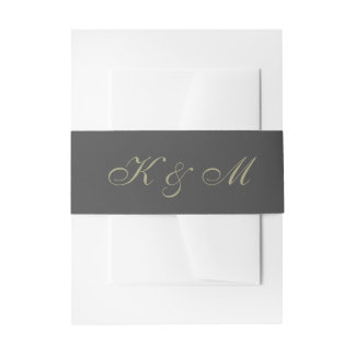 Gold and Black Monogram Invitation Belly Band