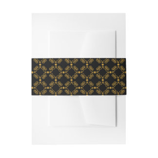 Gold and Black Ornate Elegance Belly Bands Invitation Belly Band