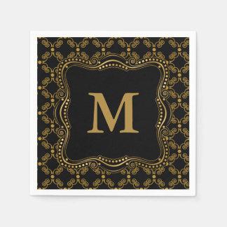 Gold and Black Ornate Elegance Disposable Napkins