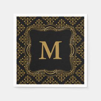 Gold and Black Ornate Elegance Disposable Serviettes