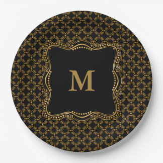 Gold and Black Ornate Elegance Paper Plate