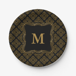 Gold and Black Ornate Elegance Paper Plate