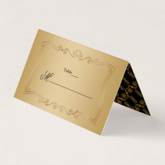 Gold and Black Ornate Elegance Place Card