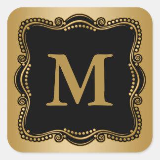 Gold and Black Ornate Elegance Square Sticker