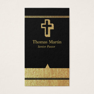 Gold and Black Pastor Business Cards with Cross