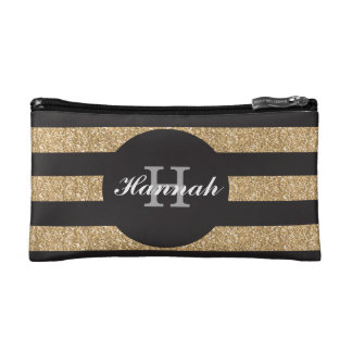 Gold and black personalized bridesmaid makeup bag