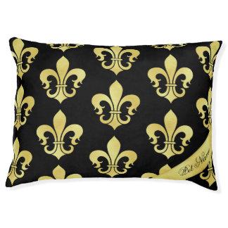 Gold and black Personalized dog bed Fleur-de-lis