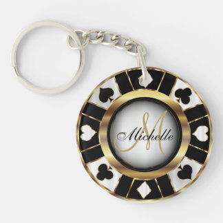 Gold and Black Poker Chip Design - Monogram Double-Sided Round Acrylic Key Ring