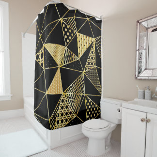 gold and black polygon shower curtain