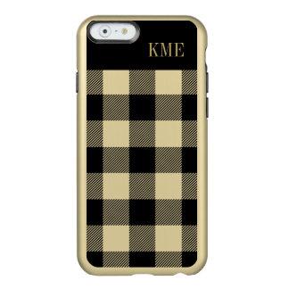 Gold and Black Preppy Buffalo Check Monogram Incipio Feather® Shine iPhone 6 Case