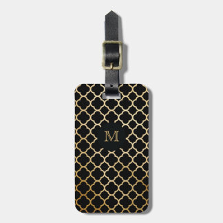 Gold and Black quatrefoil Luggage Tag
