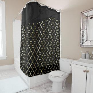 Gold and Black Quatrefoil Pattern Shower Curtain