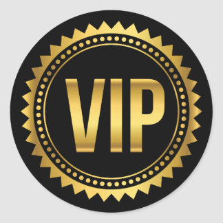 Gold and Black Round Spikes VIP Party Pass Classic Round Sticker