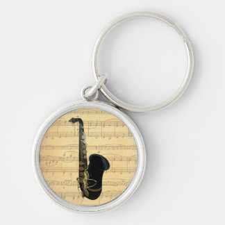 Gold and Black Saxophone Luggage or Laptop Tag Key Chain