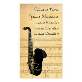 Gold and Black Saxophone Sheet Music Business Card