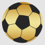 GOLD AND BLACK SOCCER BALL ROUND STICKER