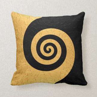 Gold and Black Spiral Pattern Steel Metallic Throw Pillow