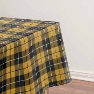 Gold and Black Sporty Plaid Tablecloth